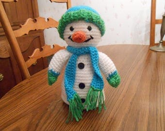 New HANDMADE Crocheted Snowman with a Hat and Scarf