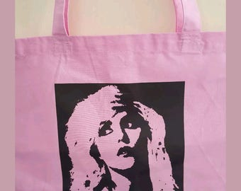 Pink cotton canvas Blondie reuseable shopping bag