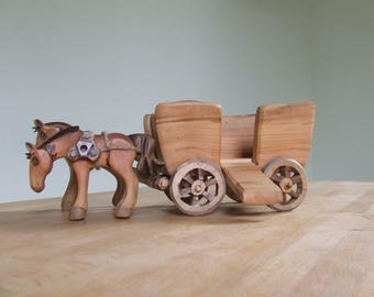 Wooden Chariot Toy with Prince and Princess Figures