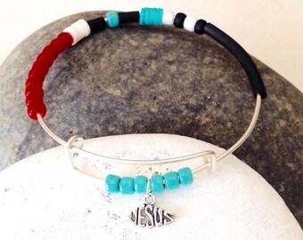 Jesus Bracelet, Religious bracelet, Jesus fish bracelet, Jesus fish charm, Inspirational jewelry, Religious jewelry, Christian jewelry,