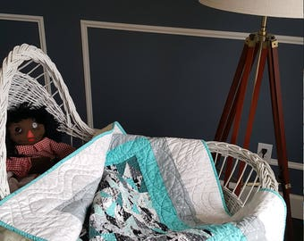 Peak-a-boo right angle quilt - turquoise, white, black, gray