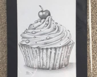Cupcake pencil drawing sketch