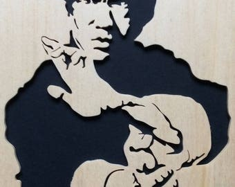 Bruce Lee Portrait on wood