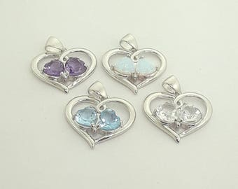 Sterling Silver 925 Heart Pendant Necklace with Gemstone