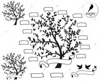 Family Tree Svg Clipart Cricut Silhouette
