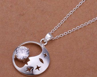 Moon necklace, Moon face necklace, White crystal necklace, Silver necklace, 925 sterling silver necklace, Cute necklace, Cheap necklace, G34