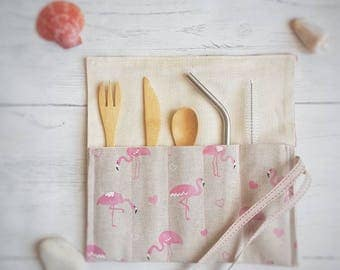Zero Waste Cutlery Wrap (Slim) in Flamingo Print - (Bamboo Utensils, Metal Straw & Straw Cleaner all included)