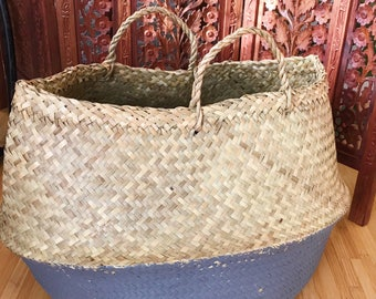 Extra large belly basket // large woven grass basket // basket for plant