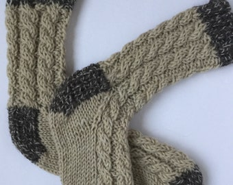 Wool cable socks