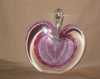 Art Glass perfume bottle with dauber Apple Heart shape