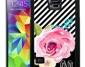 Monogrammed Rubber Case For Samsung Note 3, Note 4, Note 5, or Note 8- Black Stripes Watercolor Flowers