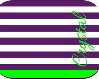 Personalized Mouse Pad - Purple Lime Stripes