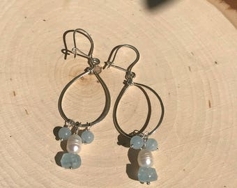 Aquamarine and Pearl Earrings, Sterling Silver