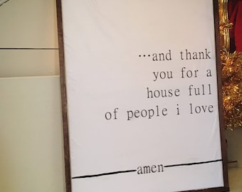 House full of people I love Farmhouse Sign with Barnwood Frame