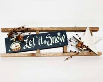 ON SALE - 35% OFF - Let It Snow Primitive Country Wall Hanging for Home Decor