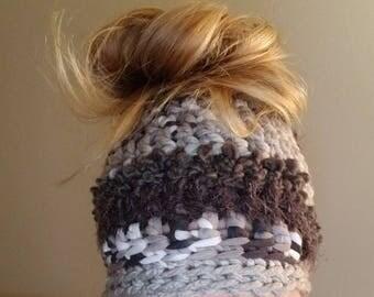 Chunky Crochet Messy Bun Hat