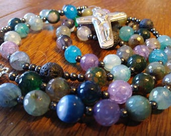 Catholic Rosary, Essential Oil, Faceted Fancy Agate Bead, Semi-Precious, Gemstone, 5 Decade Rosary, Flex Wire