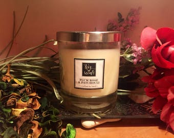 Plum Rose & Patchouli scented candle
