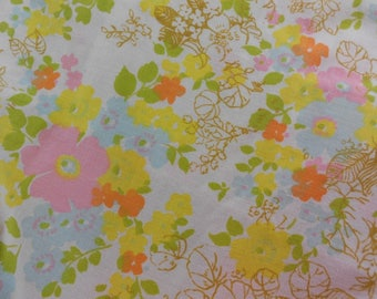 Vintage Fashion Manor Full Size Top Flat Sheet Only Muslin Yellow Pink Floral Retro