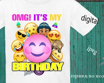INSTANT DOWNLOAD, Emoji, Iron On Transfer, Emoji Birthday Shirt, Emoji Transfer, Emoji Party, Digital Design, JPEG, Birthday Girl
