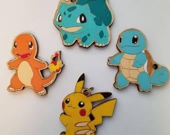 Pokemon Starters Wooden Pendant/Keychain
