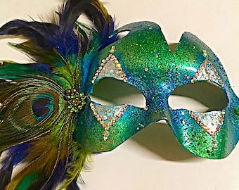 The Quarter, Mardi Gras mask, party mask, festival mask, green and blue mask, peacock feather mask, role playing mask, halloween mask