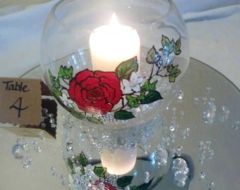 Unique Wedding Vase Centrepiece with hand-painted flowers