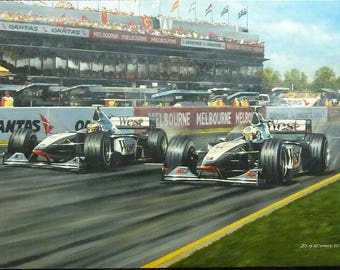 Mika Hakkinen/David Coulthard - Australian Grand Prix 1998 - Original Painting
