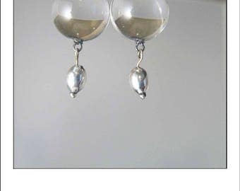 Vintage Deco Pools of Light Rock Crystal Quartz Drop Earrings