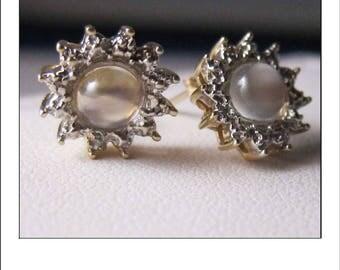 Vintage 10k Diamond Cat's Eye Moonstone Halo Earrings