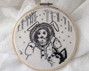 "Embroidery Art, A husky and a girl, SNOW, 6"" Embroidery hoop art, Dog Embroidery, Contemporary art, Modern embroidery,Husky lovers gift"