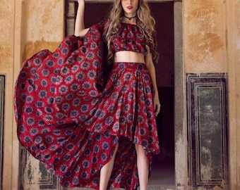 Boho Indian Flutterby Top and Skirt Outfit