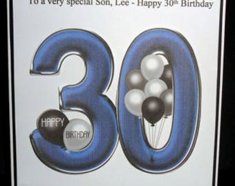 Personalised Handmade Balloons 30th Birthday Card Son Grandson Godson Nephew Step Son