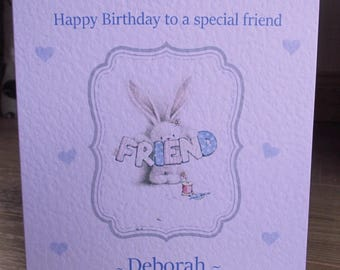 Personalised Cute Bunny FRIEND Birthday Card Any Text