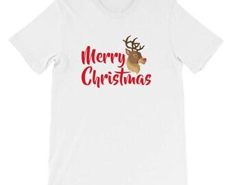 Merry Christmas Deer Head shirt Short-Sleeve Unisex T-Shirt