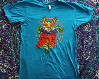 Trippin' Fruit Owl T-Shirt/Trippy Shirt/Fruit/Gym Clothing