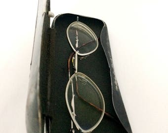 """Vintage antique Accessory Old fashioned eyeglass case """"Optal"""" in metal with glasses"""