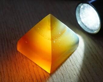 Pyramid shape Natural blue amber #01
