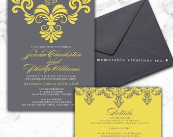 DIGITAL/PRINT-YOURSELF - Grey/Mustard Yellow Wedding Invitation