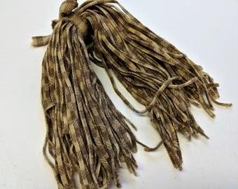 """Plaid Vintage Wool Strips Light Beige Dark Beige Rug Hooking Strips 100 Strips #6 Blade Cut 18 """" Long Hand Cut Rug supply"""
