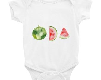 Watermelon Baby Bodysuit, Watercolor Fruit Infant one piece, Sizes Newborn - 24 months