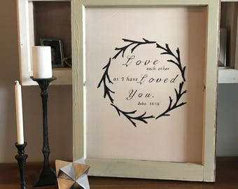Antique window frame painted canvas sign