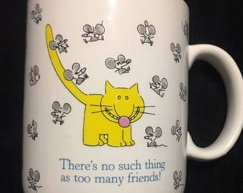 Cat Mouse Mice Coffee Mug Cup No Such Thing as too Many Friends Hallmark Mugs