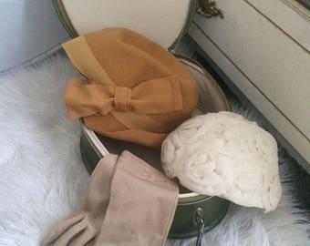 Vintage Hats, Gloves & Suitcase.