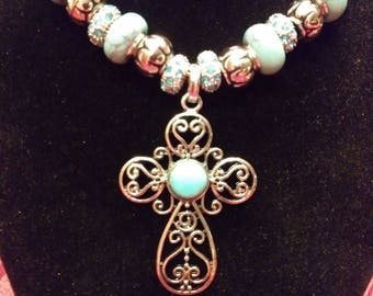 Turquoise and Silver, Stone Murano, Cross Pendant, Necklace.