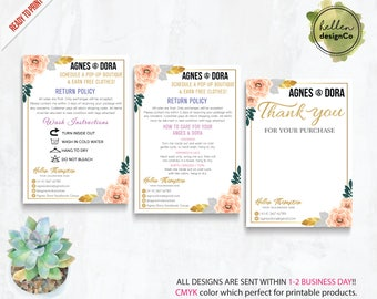 Agnes and Dora Thank you card, Agnes Dora Care Instruction Card, Policy / Return, PERSONALIZED Agnes Dora Cards, Digital Printable File AG14