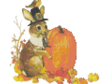 A Thanksgiving Rabbit counted Cross Stitch Pattern PDF Download