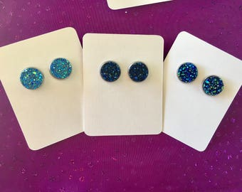 Druzy earrings, Stud Earrings, simple earrings, colorful earrings