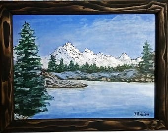 Snow Covered Mountains On The Lake with frame