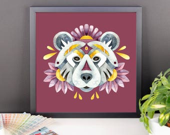Watercolor floral bear framed poster